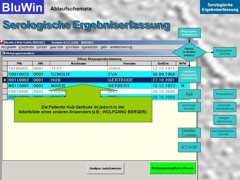 Ablaufschemata BluWin Serologische Ergebniserfassung Serologische Ergebniserfassung Die Patientin Hub Gertrude ist nun nicht mehr in der W Arbeitslist
