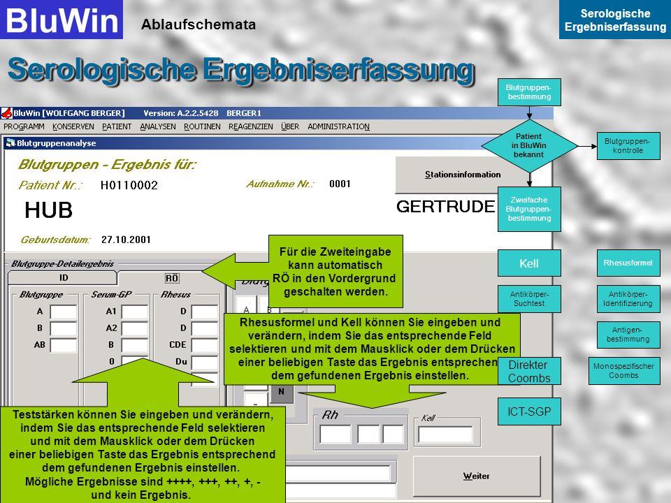 Ablaufschemata BluWin Serologische Ergebniserfassung Serologische Ergebniserfassung Die Patientin Hub Gertrude ist jedoch in der Arbeitsliste eines an