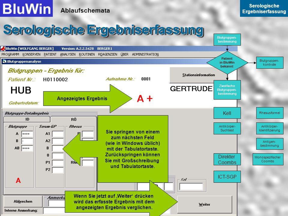 Ablaufschemata BluWin Serologische Ergebniserfassung Serologische Ergebniserfassung Für die Zweiteingabe kann automatisch RÖ in den Vordergrund gescha