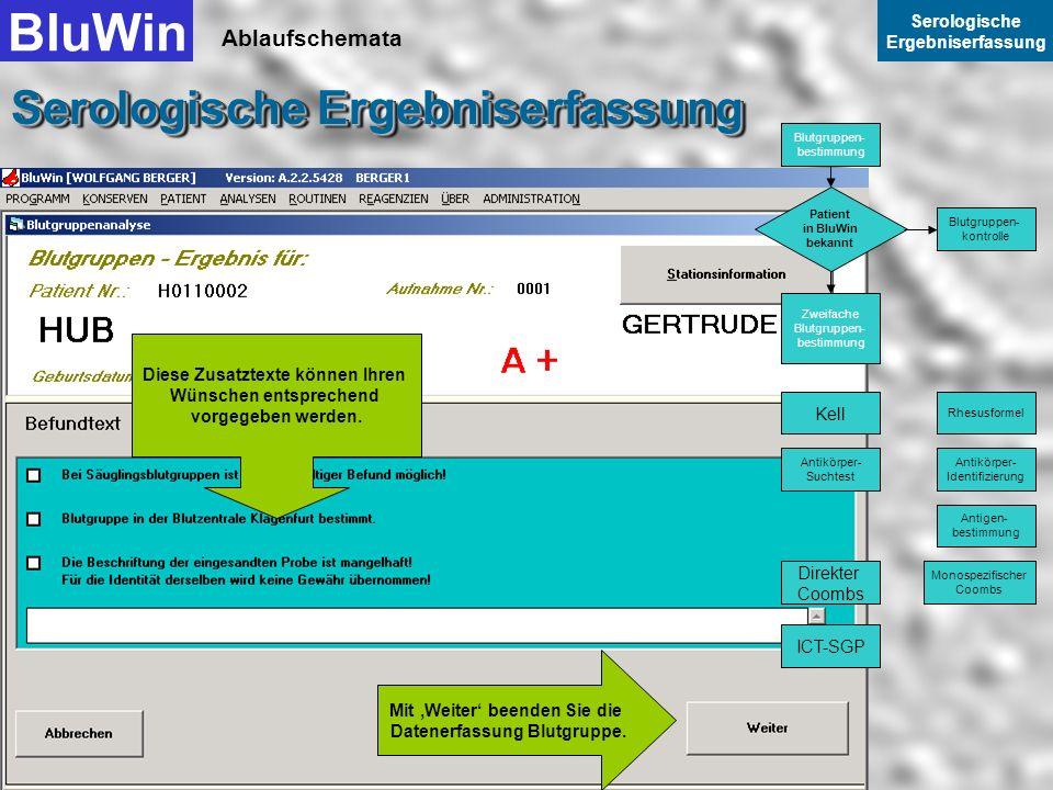 Ablaufschemata BluWin Serologische Ergebniserfassung Serologische Ergebniserfassung Sie springen von einem zum nächsten Feld (wie in Windows üblich) m