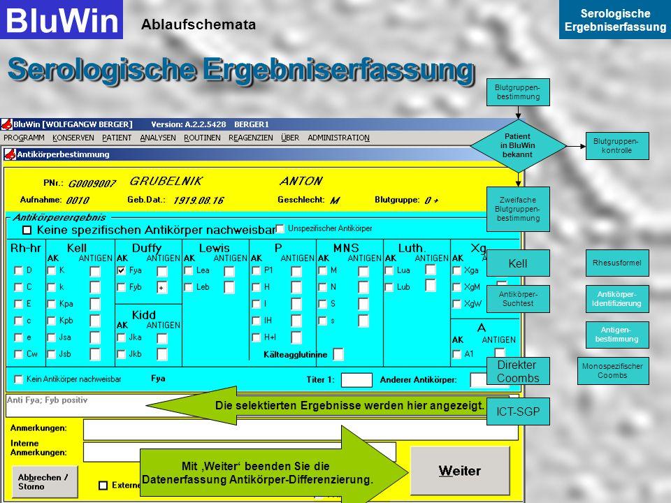 Ablaufschemata BluWin Serologische Ergebniserfassung Serologische Ergebniserfassung Sie können auch hier nur einzelne Felder mit der Maus oder der Tab