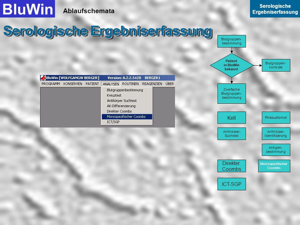 Ablaufschemata BluWin Serologische Ergebniserfassung Serologische Ergebniserfassung Mit Weiter beenden Sie die Datenerfassung Direkter Coombs. Blutgru