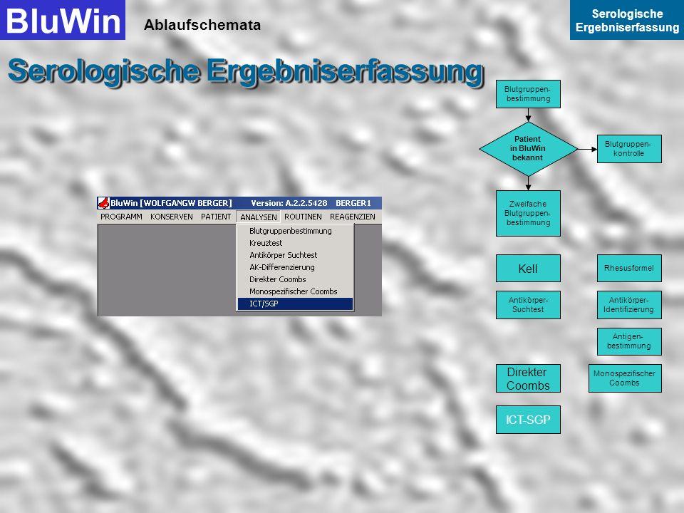 Ablaufschemata BluWin Serologische Ergebniserfassung Serologische Ergebniserfassung Mit Weiter beenden Sie die Datenerfassung Monospezifischer Coombs.