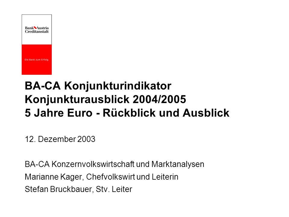 BA-CA Konjunkturindikator Konjunkturausblick 2004/2005 5 Jahre Euro - Rückblick und Ausblick 12.