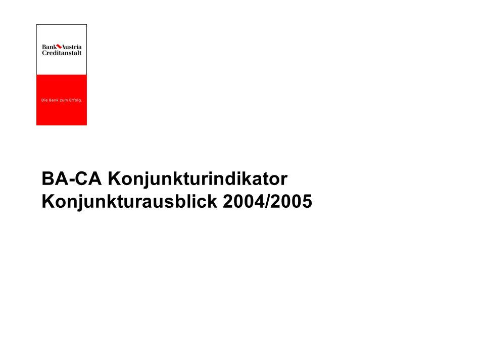 BA-CA Konjunkturindikator Konjunkturausblick 2004/2005