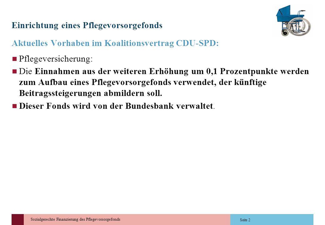 Sozialgerechte Finanzierung des Pflegevorsorgefonds Einrichtung eines Pflegevorsorgefonds Aktuelles Vorhaben im Koalitionsvertrag CDU-SPD: Pflegeversi