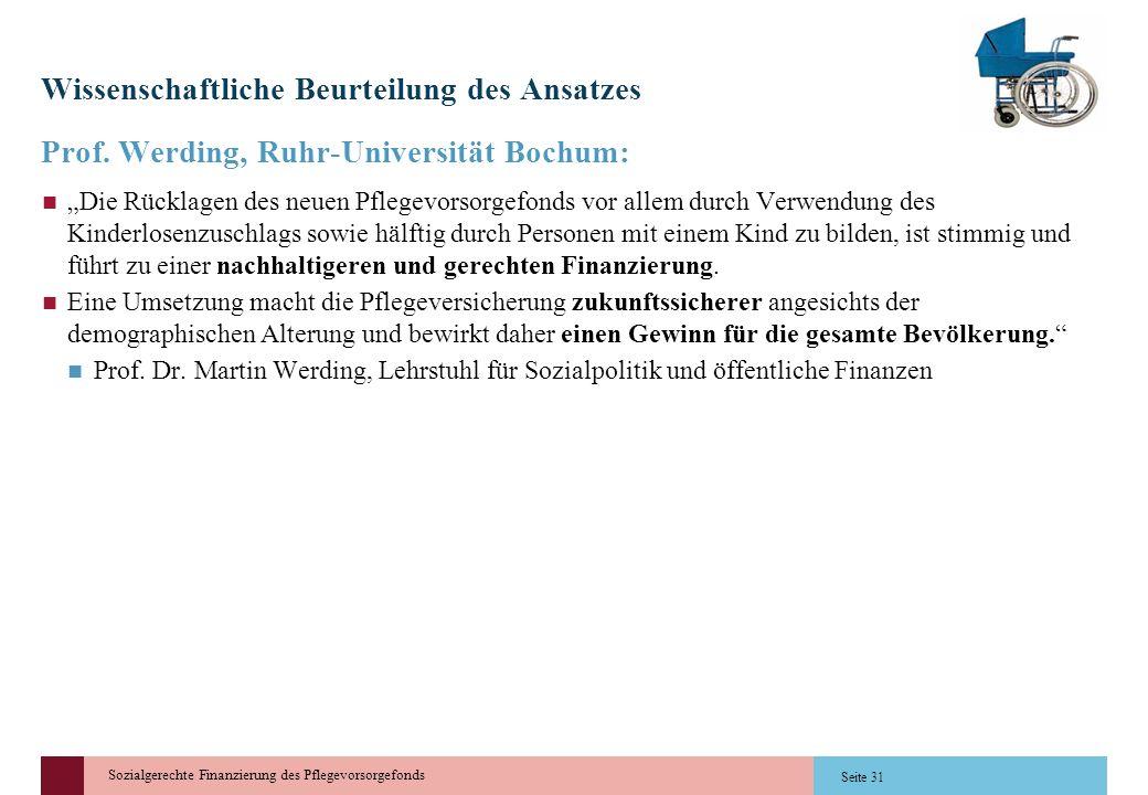 Sozialgerechte Finanzierung des Pflegevorsorgefonds Wissenschaftliche Beurteilung des Ansatzes Prof. Werding, Ruhr-Universität Bochum: Die Rücklagen d
