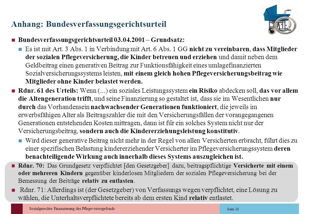 Sozialgerechte Finanzierung des Pflegevorsorgefonds Seite 36 Anhang: Bundesverfassungsgerichtsurteil Bundesverfassungsgerichtsurteil 03.04.2001 – Grun