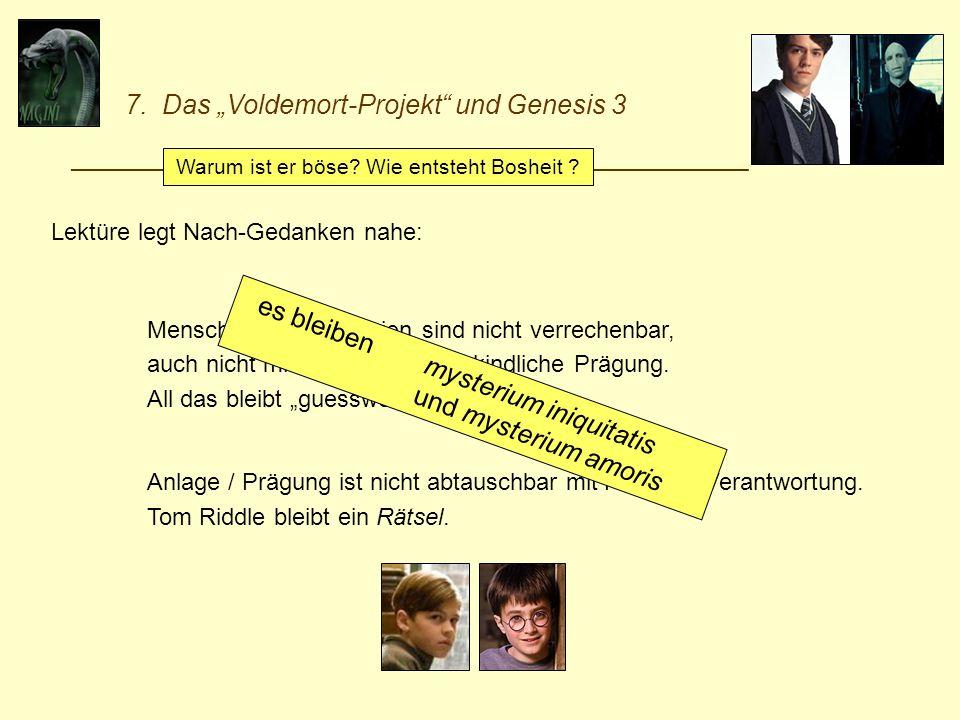 7. Das Voldemort-Projekt und Genesis 3 _________________________________________________________ Lektüre legt Nach-Gedanken nahe: Menschliche Biograph
