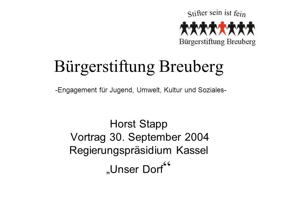 Bürgerstiftung Breuberg -Engagement für Jugend, Umwelt, Kultur und Soziales- Horst Stapp Vortrag 30.