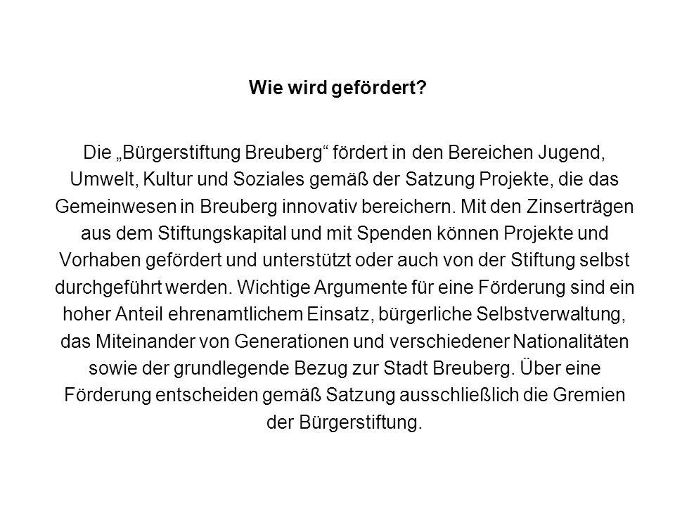 Die Bürgerstiftung Breuberg fördert in den Bereichen Jugend, Umwelt, Kultur und Soziales gemäß der Satzung Projekte, die das Gemeinwesen in Breuberg innovativ bereichern.