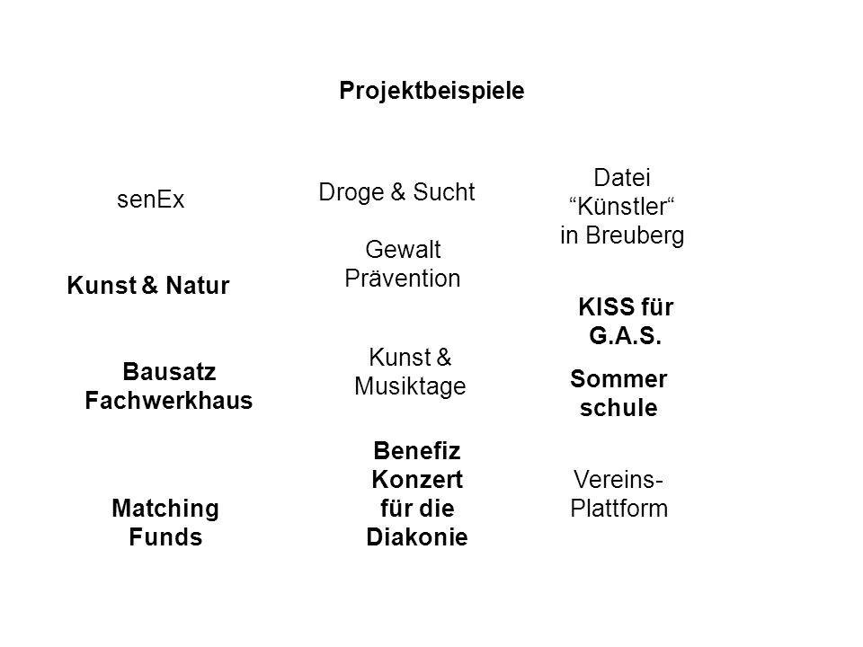 Projektbeispiele senEx Vereins- Plattform Datei Künstler in Breuberg Droge & Sucht Gewalt Prävention Kunst & Musiktage Matching Funds Benefiz Konzert für die Diakonie Kunst & Natur Bausatz Fachwerkhaus Sommer schule KISS für G.A.S.