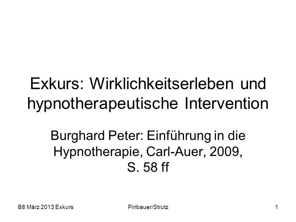 B8 März 2013 ExkursPiribauer/Strutz1 Exkurs: Wirklichkeitserleben und hypnotherapeutische Intervention Burghard Peter: Einführung in die Hypnotherapie