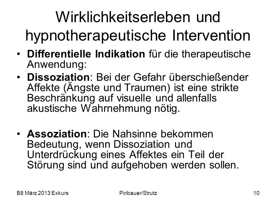B8 März 2013 ExkursPiribauer/Strutz10 Wirklichkeitserleben und hypnotherapeutische Intervention Differentielle Indikation für die therapeutische Anwen