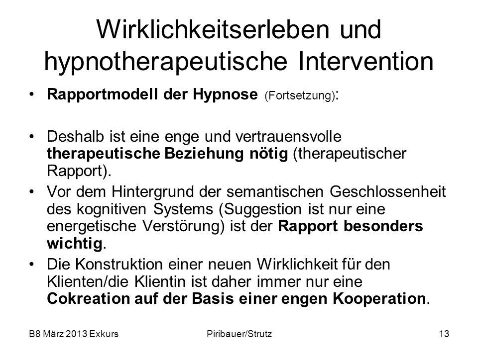B8 März 2013 ExkursPiribauer/Strutz13 Wirklichkeitserleben und hypnotherapeutische Intervention Rapportmodell der Hypnose (Fortsetzung) : Deshalb ist