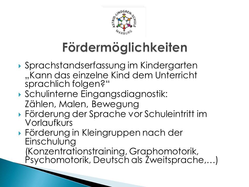 Sprachstandserfassung im Kindergarten Kann das einzelne Kind dem Unterricht sprachlich folgen? Schulinterne Eingangsdiagnostik: Zählen, Malen, Bewegun