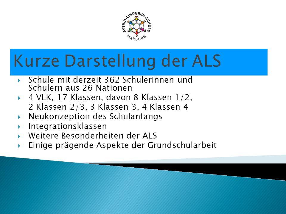 Kurze Darstellung der ALS Schule mit derzeit 362 Schülerinnen und Schülern aus 26 Nationen 4 VLK, 17 Klassen, davon 8 Klassen 1/2, 2 Klassen 2/3, 3 Kl