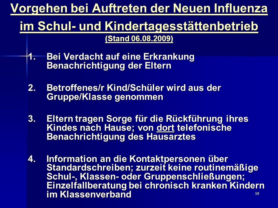 10 Vorgehen bei Auftreten der Neuen Influenza im Schul- und Kindertagesstättenbetrieb (Stand 06.08.2009) 1. Bei Verdacht auf eine Erkrankung Benachric