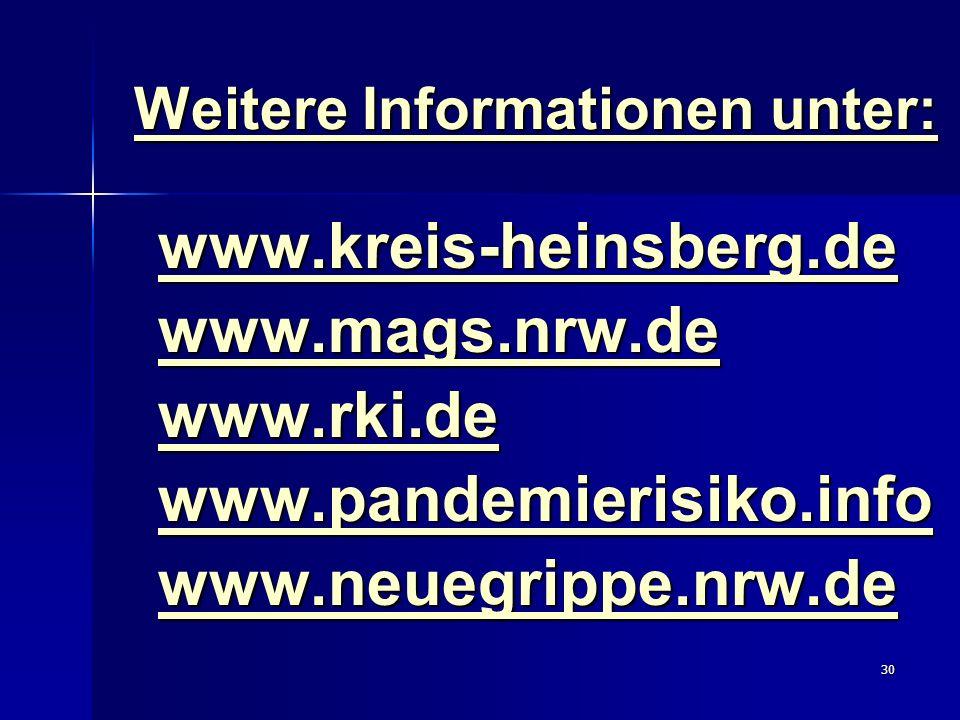 30 Weitere Informationen unter: www.kreis-heinsberg.de www.mags.nrw.de www.rki.de www.pandemierisiko.info www.neuegrippe.nrw.de