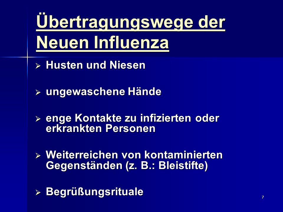7 Übertragungswege der Neuen Influenza Husten und Niesen Husten und Niesen ungewaschene Hände ungewaschene Hände enge Kontakte zu infizierten oder erk