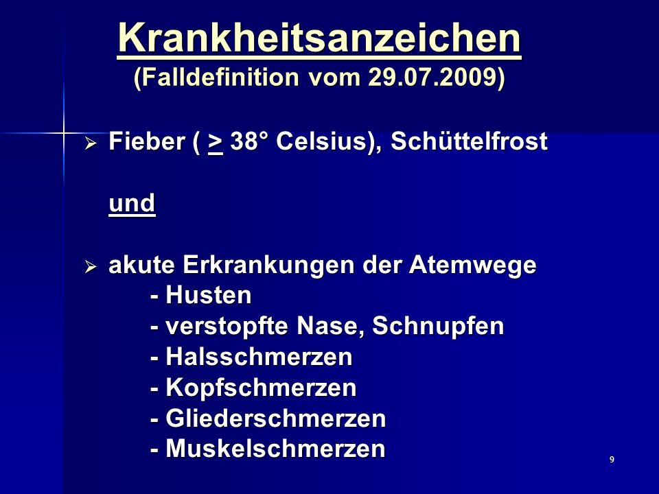 9 Krankheitsanzeichen (Falldefinition vom 29.07.2009) Fieber ( > 38° Celsius), Schüttelfrost Fieber ( > 38° Celsius), Schüttelfrostund akute Erkrankun