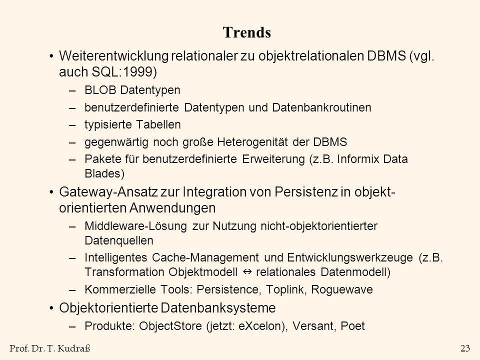 Prof.Dr. T. Kudraß23 Trends Weiterentwicklung relationaler zu objektrelationalen DBMS (vgl.