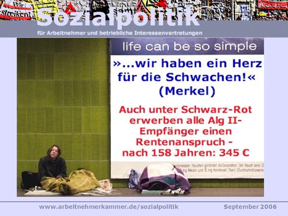 www.arbeitnehmerkammer.de/sozialpolitikSeptember 2006 Der Koalitionsvertrag vom 11.11.2005 Gegenwärtiger Beitrag für Bezieher von Arbeitslosengeld II:
