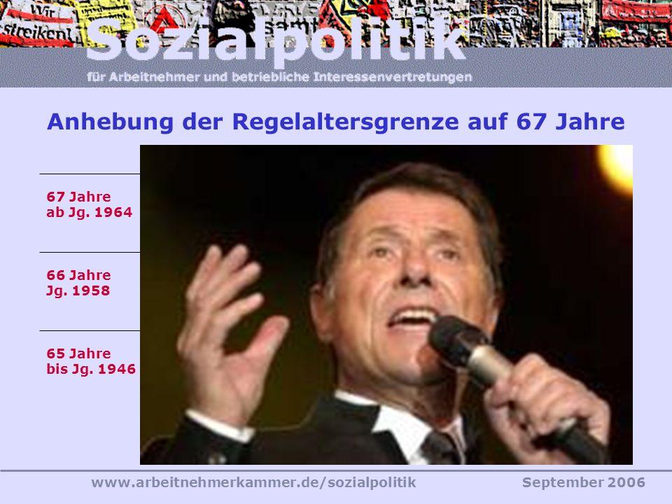 www.arbeitnehmerkammer.de/sozialpolitikSeptember 2006 20122029 65 Jahre bis Jg. 1946 67 Jahre ab Jg. 1964 66 Jahre Jg. 1958 Anhebung der Regelaltersgr