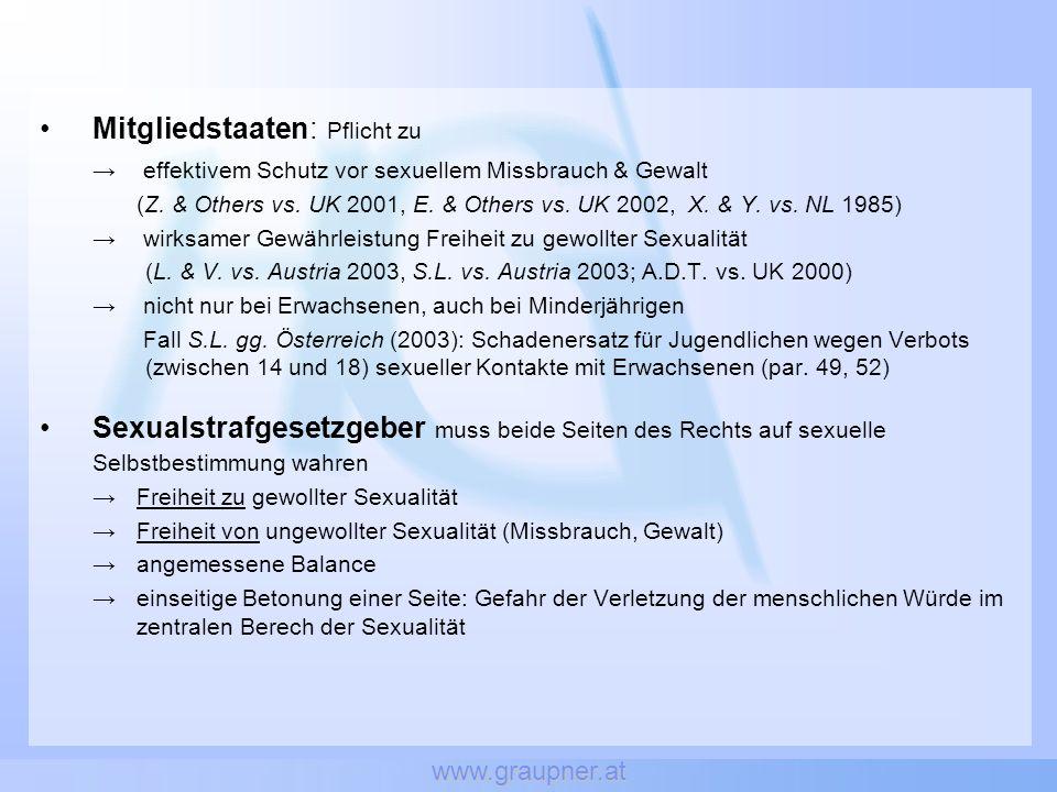 www.graupner.at Sexueller Missbrauch von Jugendlichen (§ 182 dtStGB):Sexueller Missbrauch von Jugendlichen (§ 182 dtStGB): Anhebung der Altersgrenze von 16 auf 18 (bei Zwangslage und Entgelt)Anhebung der Altersgrenze von 16 auf 18 (bei Zwangslage und Entgelt) Ausdehnung der Strafbarkeit auf jugendliche TäterInnenAusdehnung der Strafbarkeit auf jugendliche TäterInnen Kinderpornografie (§ 184b StGB):Kinderpornografie (§ 184b StGB): Anhebung der Altersgrenze von 14 auf 18Anhebung der Altersgrenze von 14 auf 18 Keine Differenzierung nach Altersgruppen (17j ebenso wie 5j behandelt), identer Tatbestand, idente StrafrahmenKeine Differenzierung nach Altersgruppen (17j ebenso wie 5j behandelt), identer Tatbestand, idente Strafrahmen Keine der Ausnahmeermächtigungen des RB (erw.