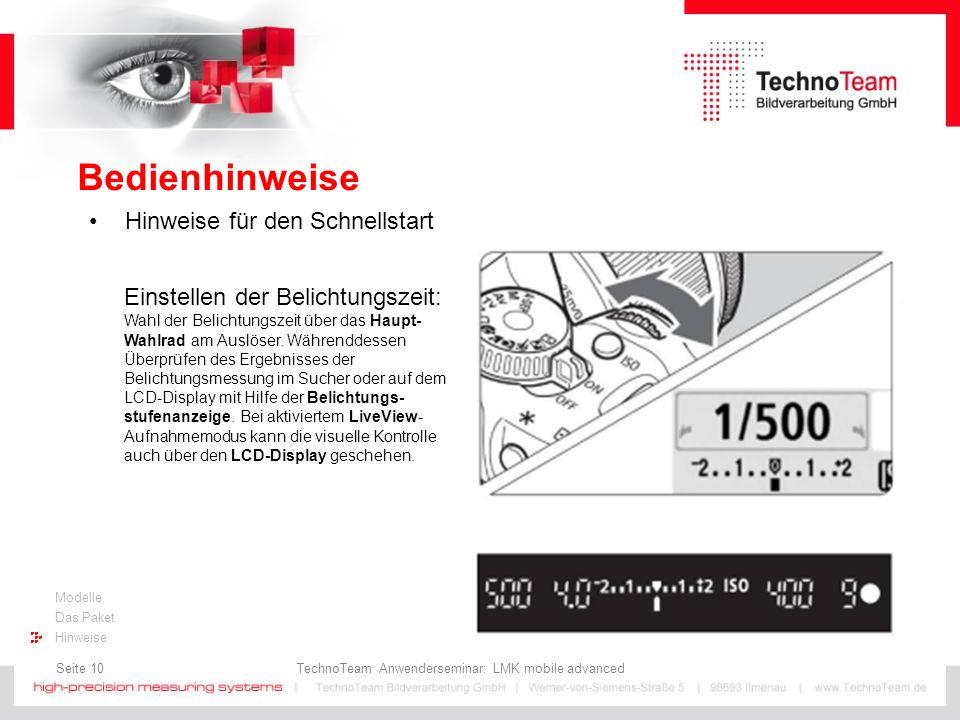 Seite 10 TechnoTeam Anwenderseminar: LMK mobile advanced Modelle Das Paket Hinweise Bedienhinweise Hinweise für den Schnellstart Einstellen der Belich