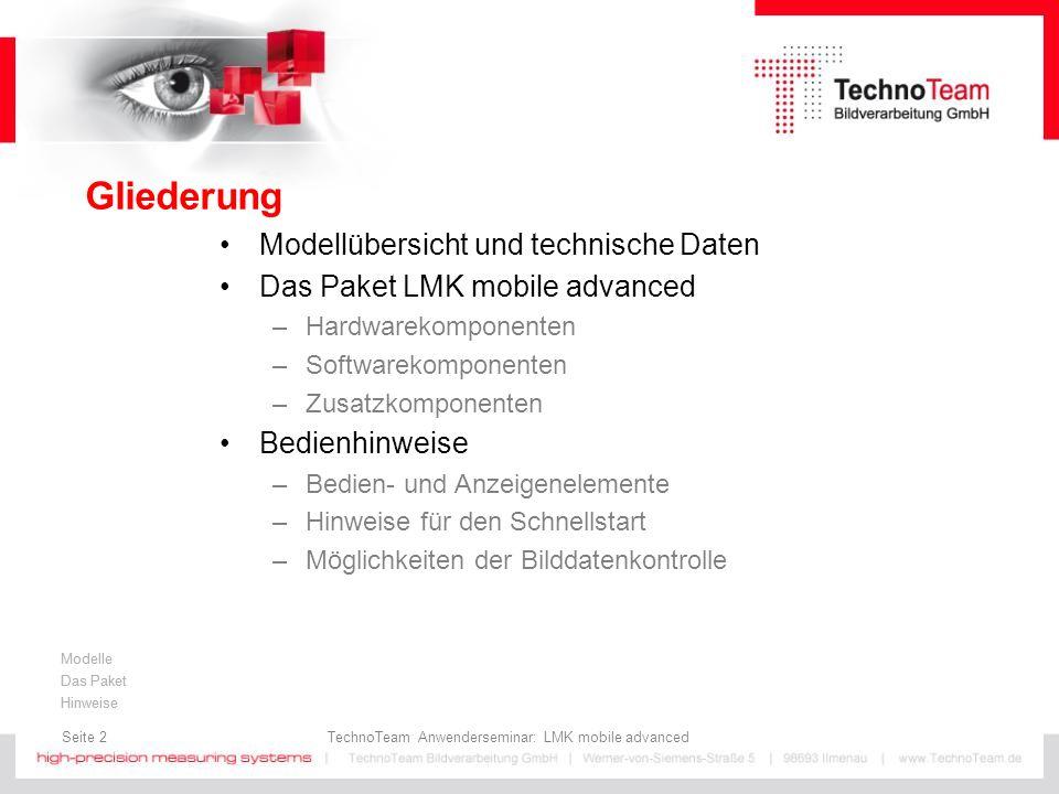 Seite 3 TechnoTeam Anwenderseminar: LMK mobile advanced Modelle Das Paket Hinweise Modellübersicht und technische Daten LMK mobile Konzept - inzwischen in der 4ten Generation Historie: LMK mobile – Rollei d30flex (2000 – 2006) Auflösung: 1280(H) x 1024(V); 10 bit digital Zoom: 10 - 30 mm; 82° x 69° (f = 10mm) Blende:Lochblenden: k = 2,8; 4,0; 5,6; 8,0; 11 Software:LMK2000; Windows 2000/XP LMK mobile advanced – EOS 350D (2006 – 2008) Auflösung: 1728(H) x 1152(V); 12 bit digital Zoom: 18 - 50 mm; 65° x 45° (f = 18mm) Blende:F4 - F11 (kalibriert) in 1/3 Stufen Software:LMK2000/LabSoft; Windows 2000/XP/Vista/7 LMK mobile advanced – EOS 450D (2008 - 2010) Auflösung: 2136(H) x 1424(V); 14 bit digital Zoom: 18 - 50 mm; 65° x 45° (f = 18mm) Blende:F4 - F11 (kalibriert) in 1/3 Stufen Software:LMK2000/LabSoft; Windows 2000/XP/Vista/7