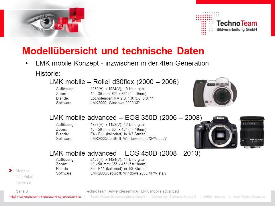 Seite 4 TechnoTeam Anwenderseminar: LMK mobile advanced Modelle Das Paket Hinweise Modellübersicht und technische Daten LMK mobile Konzept - inzwischen in der 4ten Generation Aktuell: LMK mobile advanced – EOS 550D (2011 - …) Auflösung: 2592(H) x 1728(V); 14 bit digital Zoom: 18 - 50 mm; 65° x 45° (f = 18mm) Blende:F4 - F11 (kalibriert) in 1/3 Stufen Software:LMK LabSoft; Windows 2000/XP/Vista/7 Ti\Av45,6811 0,25ms7,68,08,28,8 2,5ms6,06,36,57,2 25ms5,86,26,47,0 0,25s5,86,26,47,0 2,5s5,86,26,47,0 Messunsicherheit ΔL: in % (bei Normlichtart A)