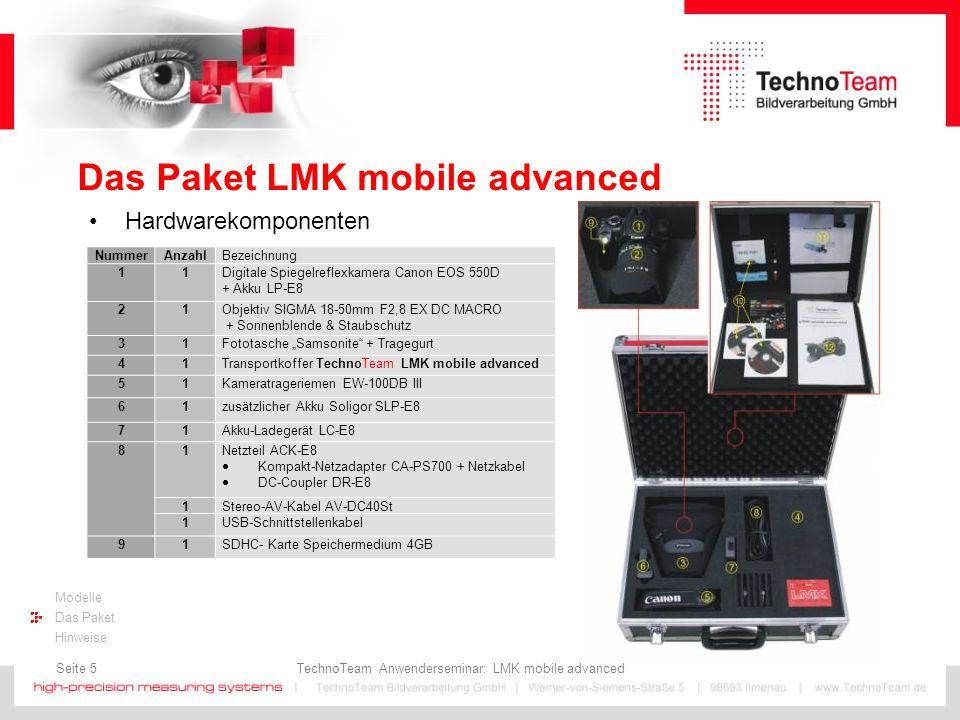 Seite 6 TechnoTeam Anwenderseminar: LMK mobile advanced Modelle Das Paket Hinweise Das Paket LMK mobile advanced Softwarekomponenten Zusatzkomponenten NummerAnzahlBezeichnung 131SIGMA 4,5mm F2,8 EX Circular FishEye 141ND-Filtersatz (opt.
