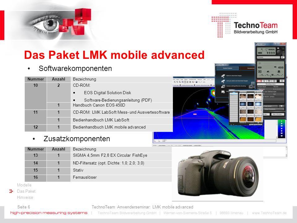Seite 17 TechnoTeam Anwenderseminar: LMK mobile advanced Modelle Das Paket Hinweise Bedienhinweise Hinweise für den Schnellstart Montage der Kamera auf einem Stativ: