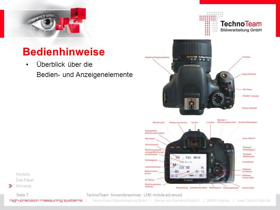 Seite 8 TechnoTeam Anwenderseminar: LMK mobile advanced Modelle Das Paket Hinweise Bedienhinweise Hinweise für den Schnellstart Kamera einschalten und Aktivierung des manuellen Mode (M-Mode) mit dem Mo- duswahlrad.