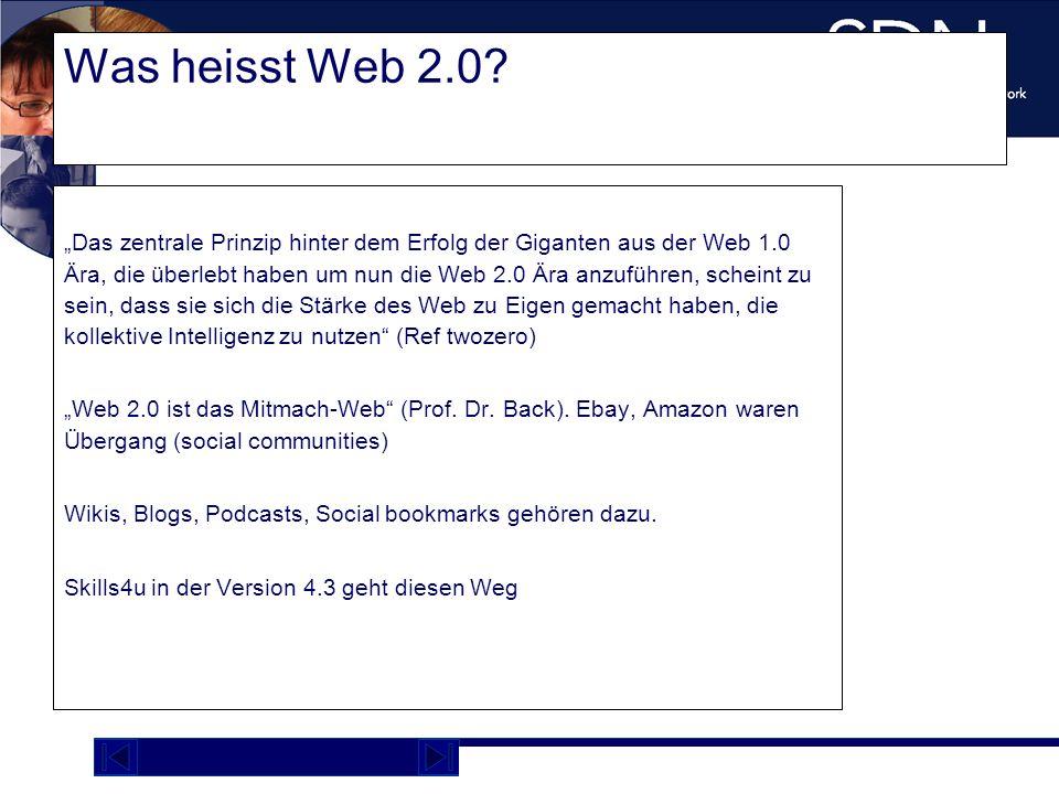 Demo Plattform academy.sdnag.com Was heisst Web 2.0? Das zentrale Prinzip hinter dem Erfolg der Giganten aus der Web 1.0 Ära, die überlebt haben um nu