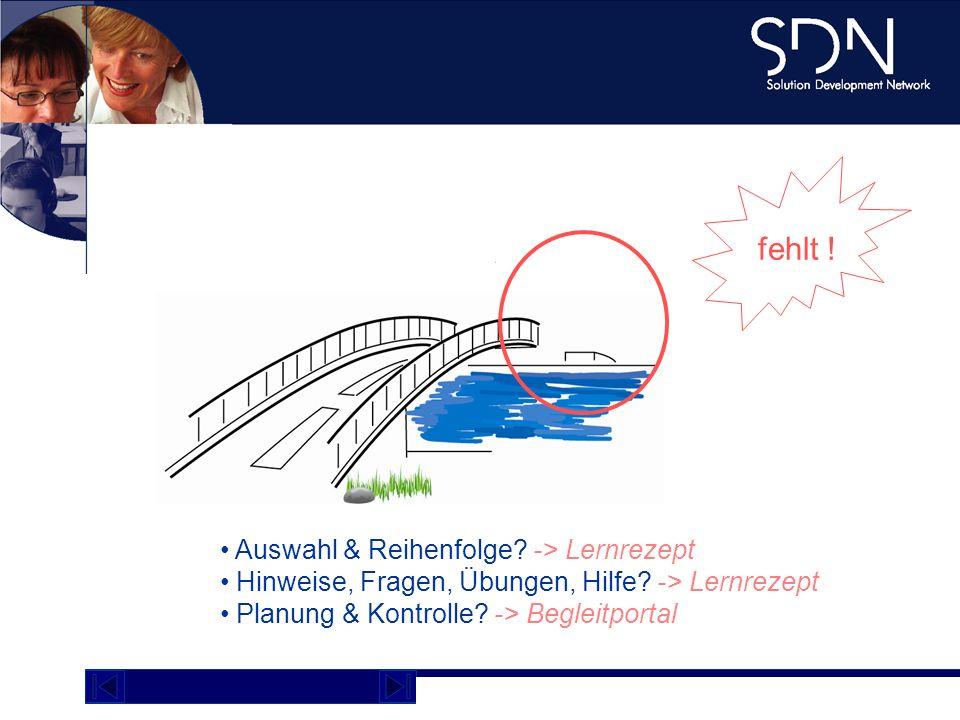 Demo Plattform academy.sdnag.com fehlt ! Brücke ist nicht ok Auswahl & Reihenfolge? -> Lernrezept Hinweise, Fragen, Übungen, Hilfe? -> Lernrezept Plan