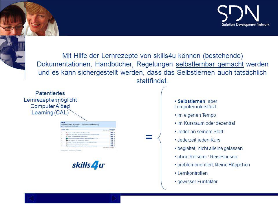 Demo Plattform academy.sdnag.com Mit Hilfe der Lernrezepte von skills4u können (bestehende) Dokumentationen, Handbücher, Regelungen selbstlernbar gema