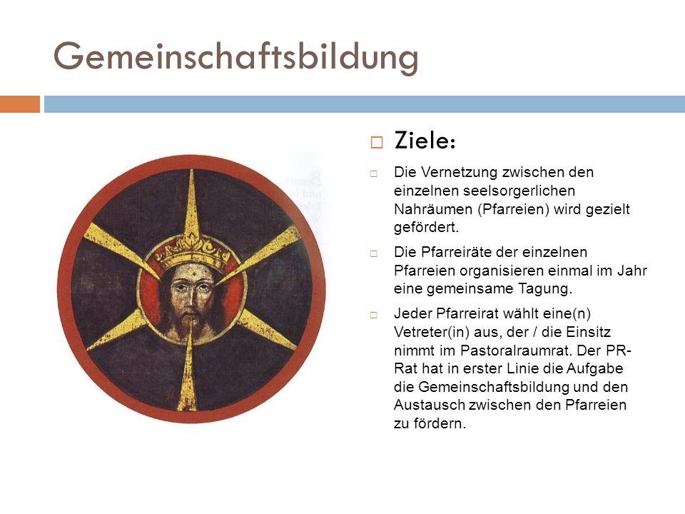 Gemeinschaftsbildung Ziele: Die Vernetzung zwischen den einzelnen seelsorgerlichen Nahräumen (Pfarreien) wird gezielt gefördert. Die Pfarreiräte der e