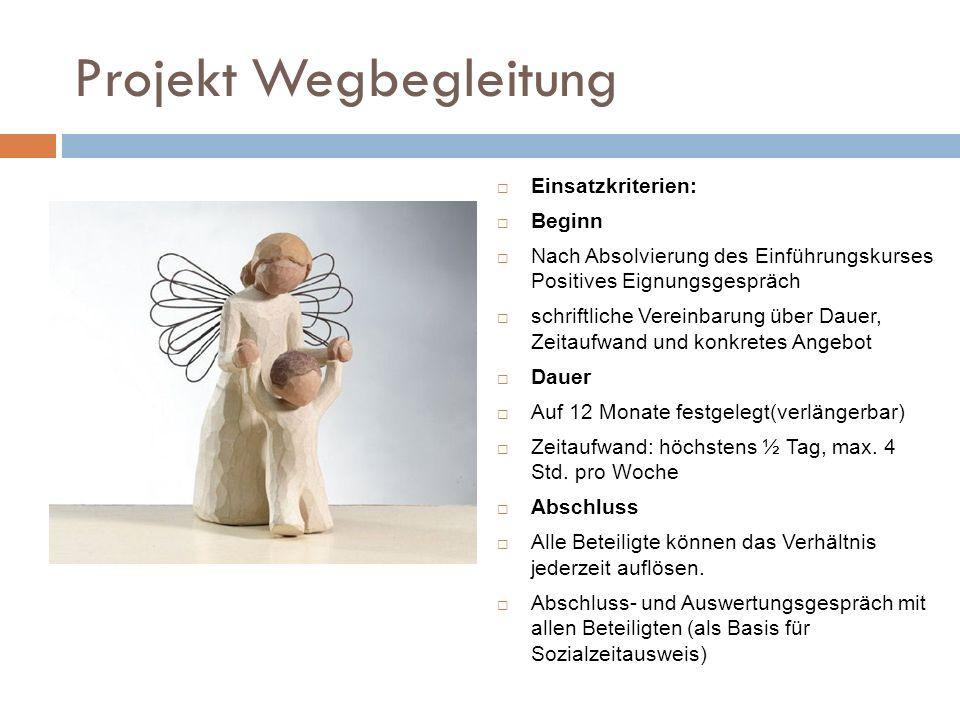 Projekt Wegbegleitung Einsatzkriterien: Beginn Nach Absolvierung des Einführungskurses Positives Eignungsgespräch schriftliche Vereinbarung über Dauer