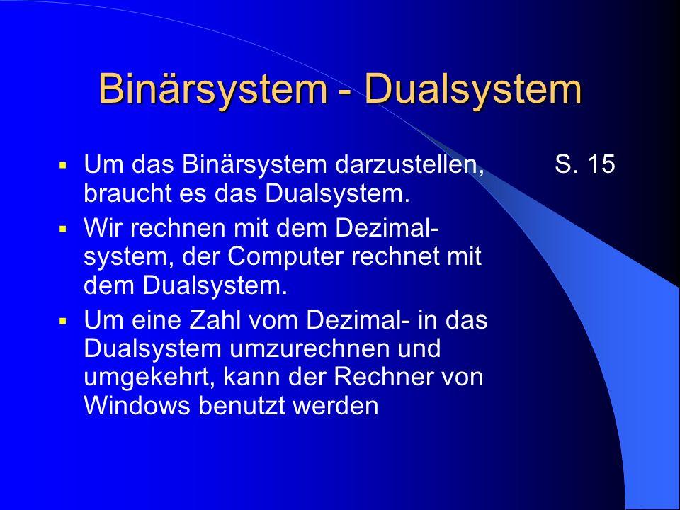 Binärsystem - Dualsystem Um das Binärsystem darzustellen, braucht es das Dualsystem.