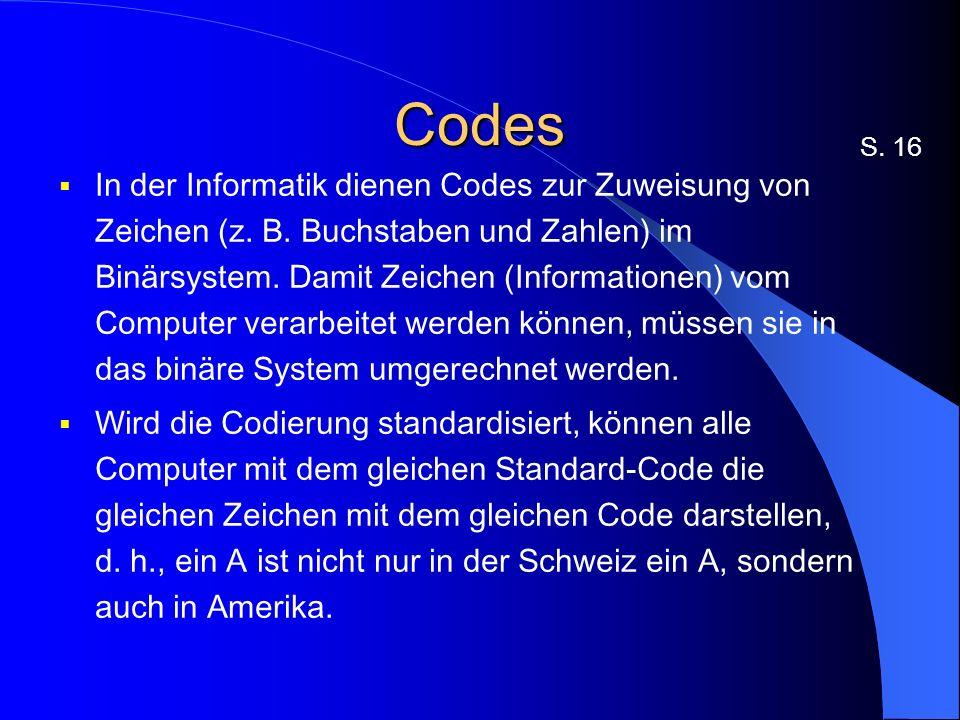 Codes In der Informatik dienen Codes zur Zuweisung von Zeichen (z.