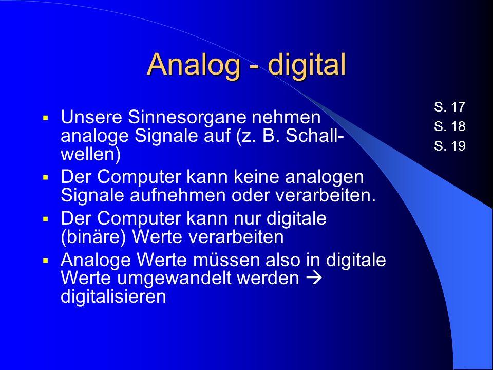 Analog - digital Unsere Sinnesorgane nehmen analoge Signale auf (z.
