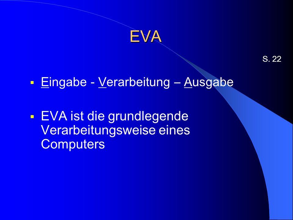 EVA Eingabe - Verarbeitung – Ausgabe EVA ist die grundlegende Verarbeitungsweise eines Computers S.