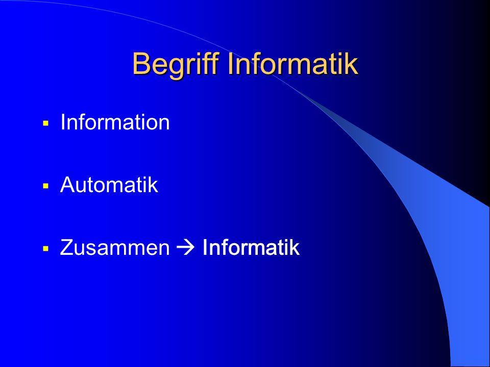 Begriff Informatik Information Automatik Zusammen Informatik