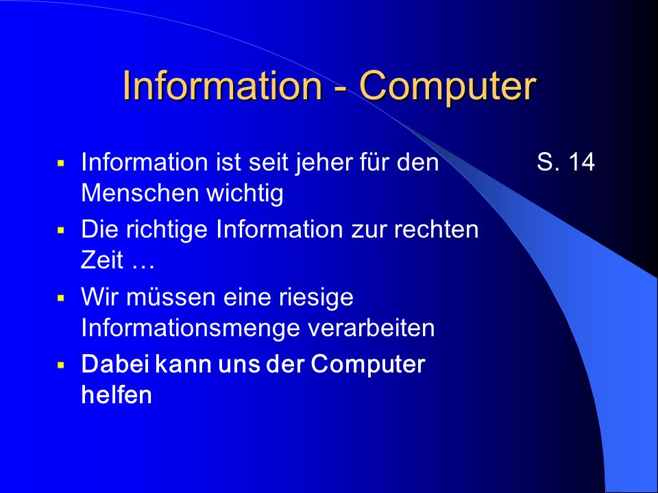 Der Computer Computer sind «elektronische» Maschinen Der Computer kann nichts anderes als Schalter betätigen (schreiben) und die Stellung von Schaltern erkennen (lesen) Computer: von lat.