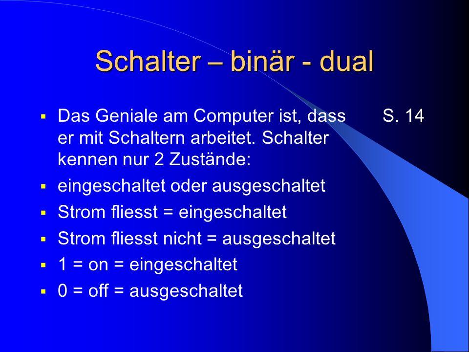 Schalter – binär – dual 2 Zustände: einfache, sichere Verarbeitung Viele Zustände: fehleranfällig, da jeder Zustand mit einer bestimmten Spannung erzeugt werden müsste S.