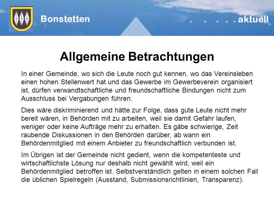 Allgemeine Betrachtungen Bonstetten.....