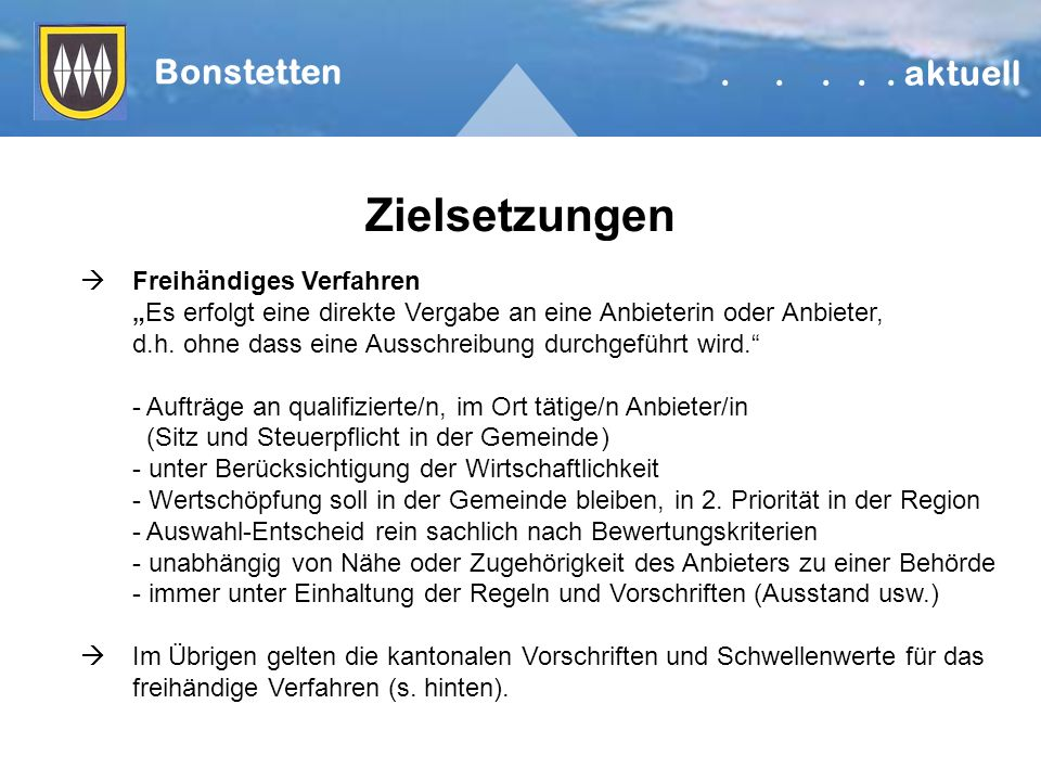 Zielsetzungen Bonstetten.....