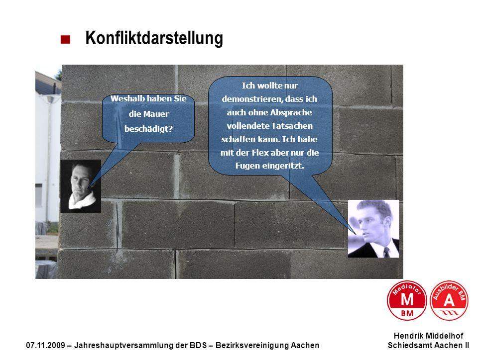 Hendrik Middelhof 07.11.2009 – Jahreshauptversammlung der BDS – Bezirksvereinigung Aachen Schiedsamt Aachen II Konfliktdarstellung Weshalb haben Sie d